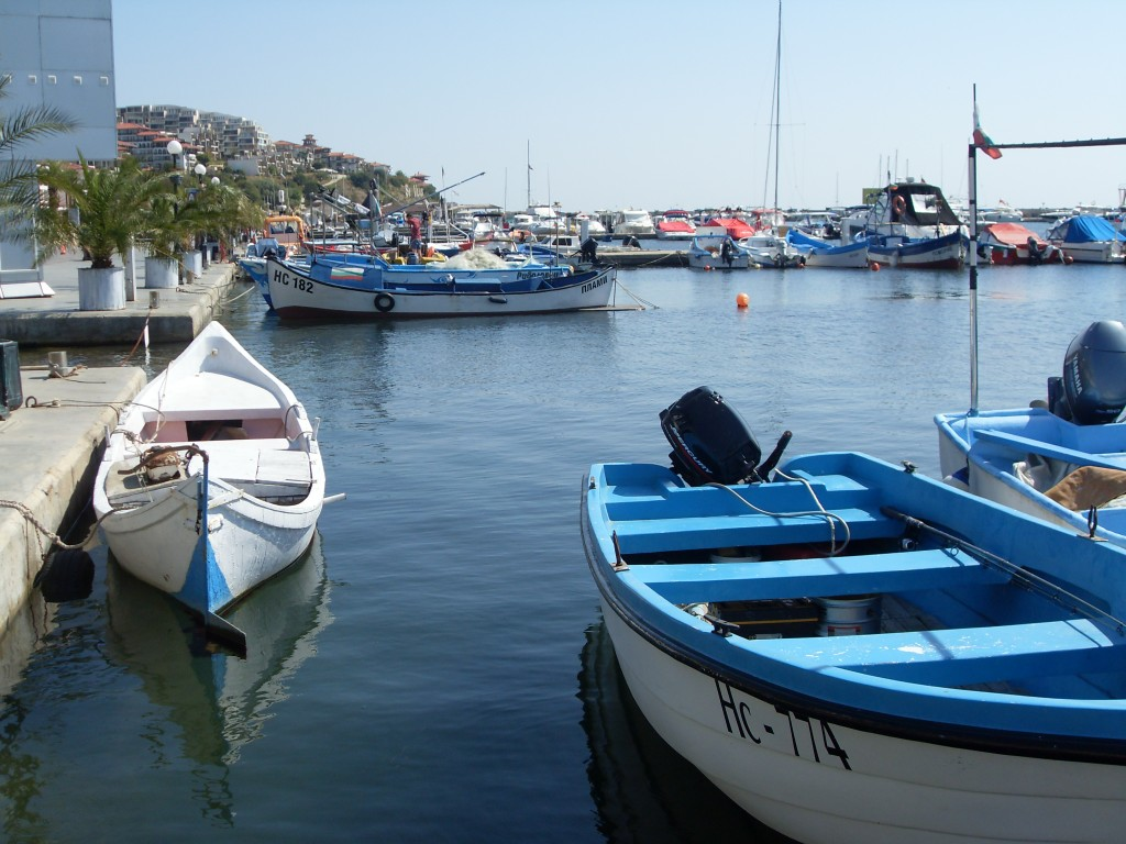 View of fishing boats