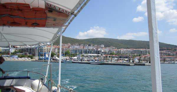 View from sea taxi to marina