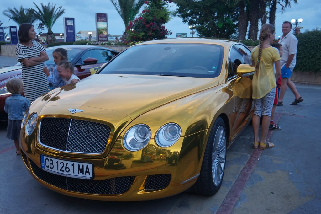 Gold coloured Bentley